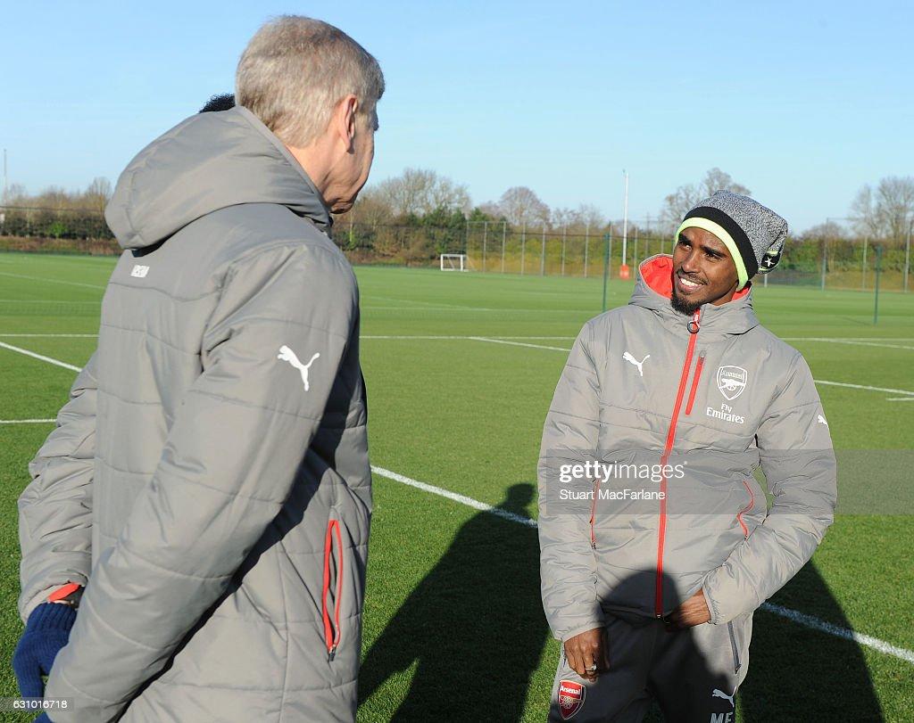 Sir Mo Farah Attends Arsenal Training Session : News Photo