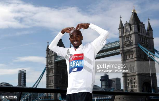 Sir Mo Farah during a press conference at The Tower Hotel London