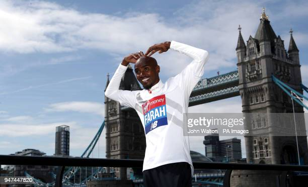 Sir Mo Farah during a press conference at The Tower Hotel London PRESS ASSOCIATION Photo Picture date Tuesday April 17 2018 See PA story ATHLETICS...