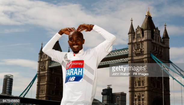 Sir Mo Farah during a press conference at The Tower Hotel London Picture date Tuesday April 17 2018 See PA story ATHLETICS Marathon Photo credit...