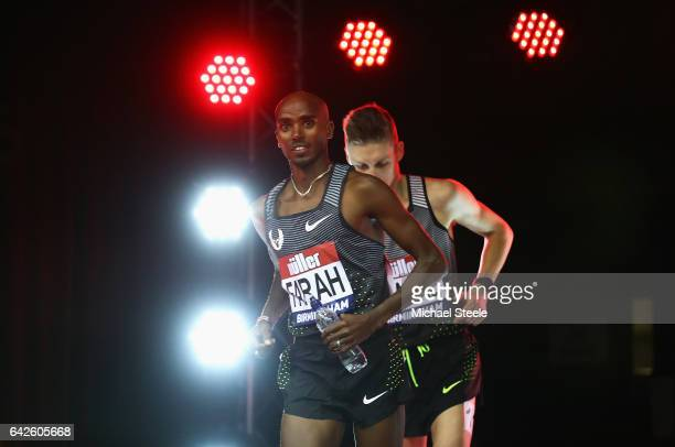 Sir Mo Farah jogs to the start line of the Men's 5000 metres final during the Muller Indoor Grand Prix 2017 at Barclaycard Arena on February 18 2017...