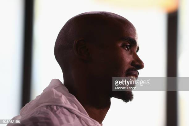 Sir Mo Farah of Great Britain during a press conference ahead of the Ooredoo Doha Marathon in association with Qatar Tourism Authority on January 10...
