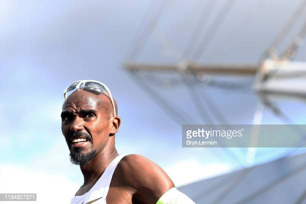 Sir Mo Farah of Great Britain looks on after winning the men's Vitality Big Half on March 10, 2019 in London, England.