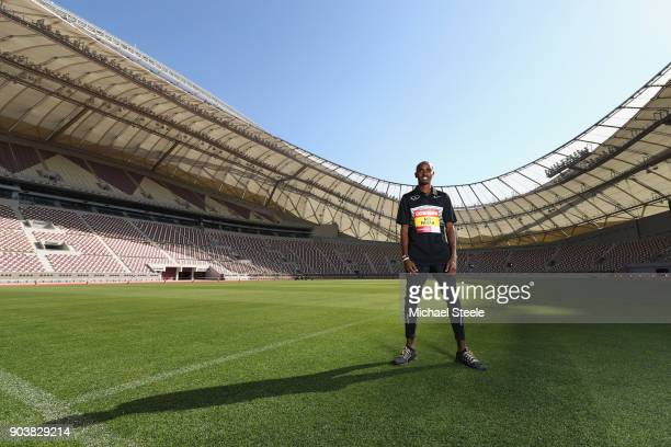 Sir Mo Farah of Great Britain poses inside the Khalifa International Stadium venue of the Iaaf 2019 World Athletics Championships and host to matches...