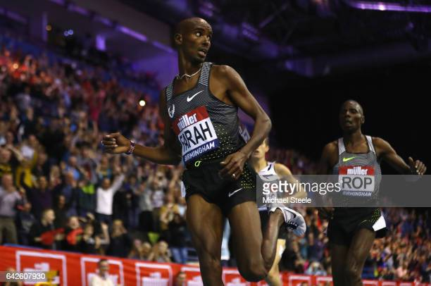 Sir Mo Farah of Great Britain wins the Men's 5000 metres final during the Muller Indoor Grand Prix 2017 at Barclaycard Arena on February 18 2017 in...