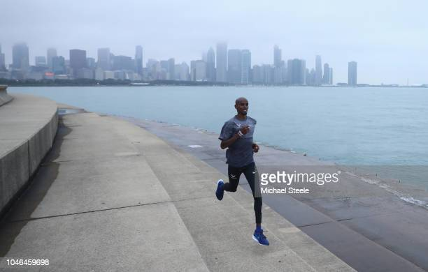 Sir Mo Farah on a training run alongside Lake Michigan ahead of the 2018 Bank of America Chicago Marathon on October 6 2018 in Chicago Illinois