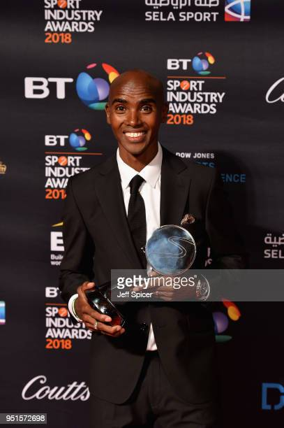 Sir Mo Farah pose for a photo with his Coutts Outstanding Contribution to Sport Award during the BT Sport Industry Awards 2018 at Battersea Evolution...
