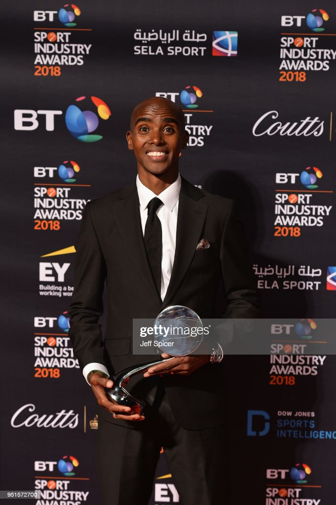 Sir Mo Farah pose for a photo with his Coutts Outstanding Contribution to Sport Award during the BT Sport Industry Awards 2018 at Battersea Evolution on April 26, 2018 in London, England. The BT Sport Industry Awards is the largest commercial sports awards in the world. Bringing together sports stars, celebrities, senior decision makers, influencers and global media, the industry's most anticipated night of the year celebrates the very best work from across the sector.