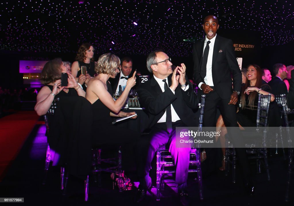 Sir Mo Farah reacts to winning Coutts Outstanding Contribution to Sport Award during the BT Sport Industry Awards 2018 at Battersea Evolution on April 26, 2018 in London, England. The BT Sport Industry Awards is the largest commercial sports awards in the world. Bringing together sports stars, celebrities, senior decision makers, influencers and global media, the industry's most anticipated night of the year celebrates the very best work from across the sector.