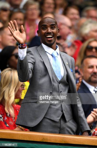 Sir Mohamed Farah reacts in the Royal Box on centre court during Day six of The Championships - Wimbledon 2019 at All England Lawn Tennis and Croquet...