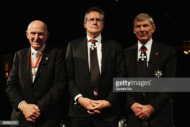 Sir Murray Halberg Sir John Walker and Sir Peter Snell are acknowledged during the New Zealand Olympic Committee Three Knights Dinner at Civic...