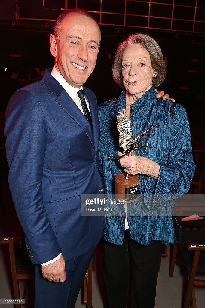 Sir Nicholas Hytner (L) and Dame Maggie Smith attend the London Evening Standard British Film Awards at Television Centre on February 7, 2016 in London, England.