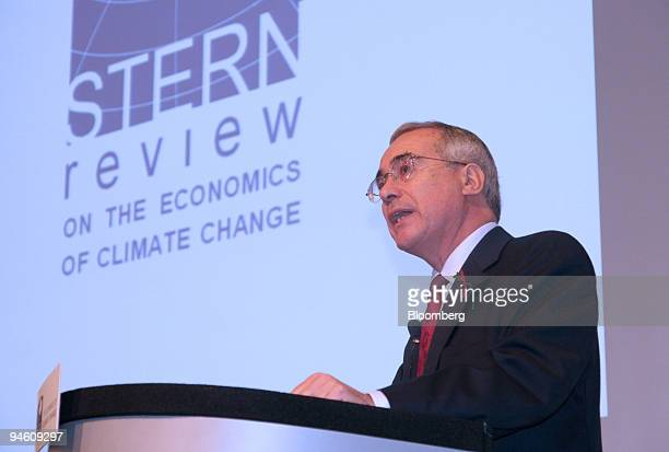 Sir Nicholas Stern, the U.K. Government's chief economist speaks at a news conference in London, Monday, October 30, 2006. The U.K. Treasury...