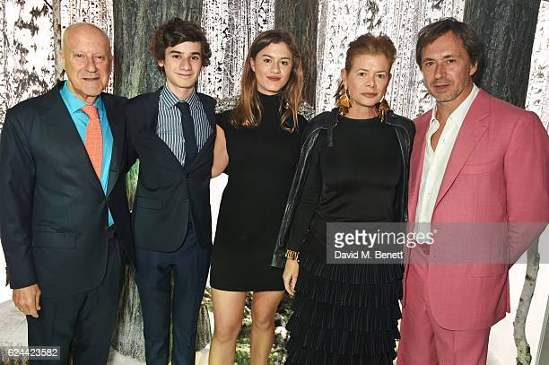 Sir Norman Foster guests Elena Ochoa and Marc Newson attend Claridge's Christmas Tree 2016 Party with tree designed by Sir Jony Ive and Marc Newson...