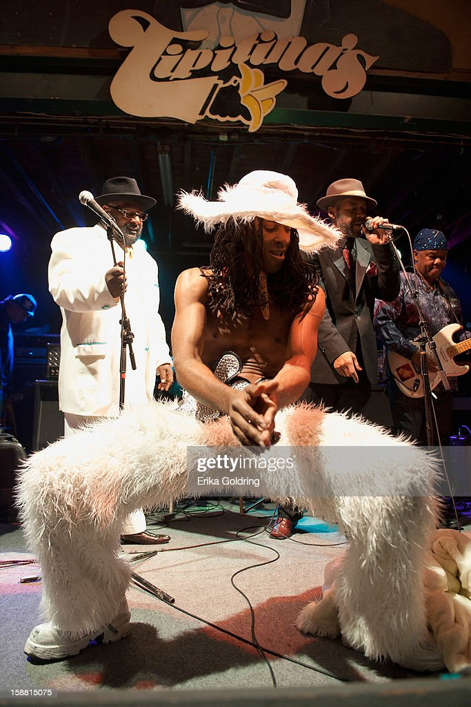 Sir Nose and George Clinton of George Clinton and Parliament Funkadelic perform at Tipitina's on December 29, 2012 in New Orleans, Louisiana.