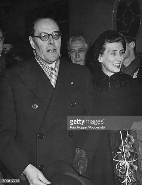 Sir Oliver Harvey 1st Baron Harvey of Tasburgh arrives in Paris to take up his post as British Ambassador to France 9th January 1948 With him is his...