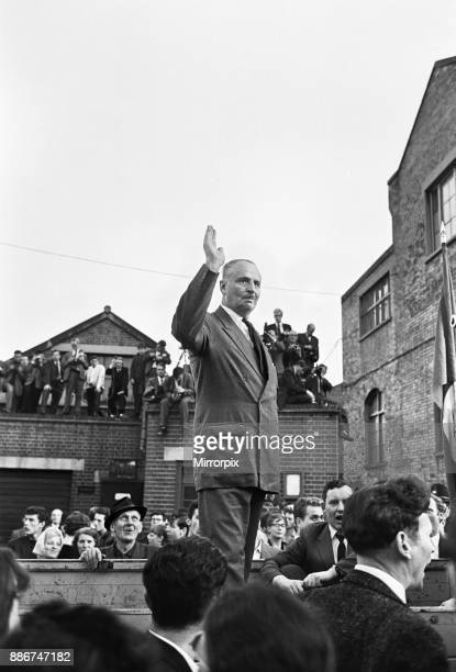Sir Oswald Mosley on the back of a lorry where he made a speech, 31st July 1962.