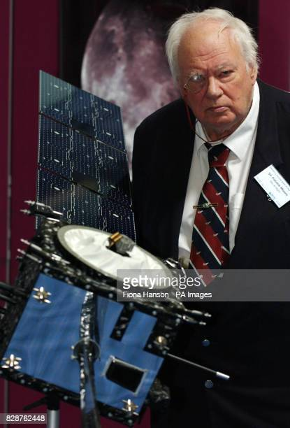 Sir Patrick Moore presenter of BBC's Sky at Night in London August 18th 2003 with a 14 model of the Smart1 orbiter which is scheduled to make...