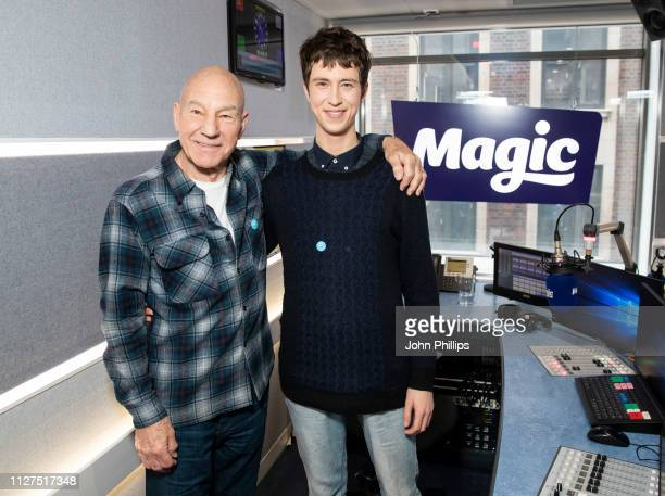 Sir Patrick Stewart and Angus Imrie visit Magic Radio on February 05 2019 in London England