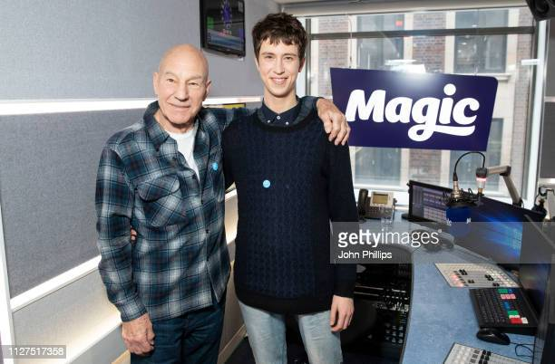 Sir Patrick Stewart and Angus Imrie visit Magic Radio on February 05, 2019 in London, England.