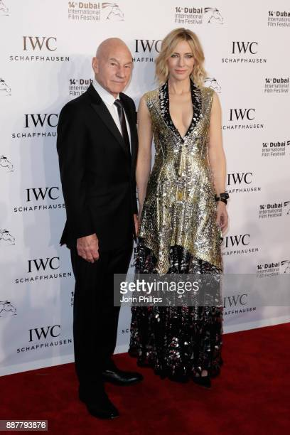 Sir Patrick Stewart and Cate Blanchett attend the sixth IWC Filmmaker Award gala dinner at the 14th Dubai International Film Festival during which...