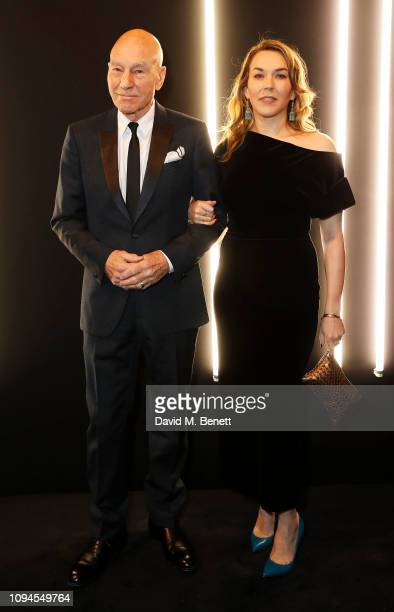 Sir Patrick Stewart and Mary Charteris attend the dunhill PreBAFTA dinner at dunhill Bourdon House on February 6 2019 in London England