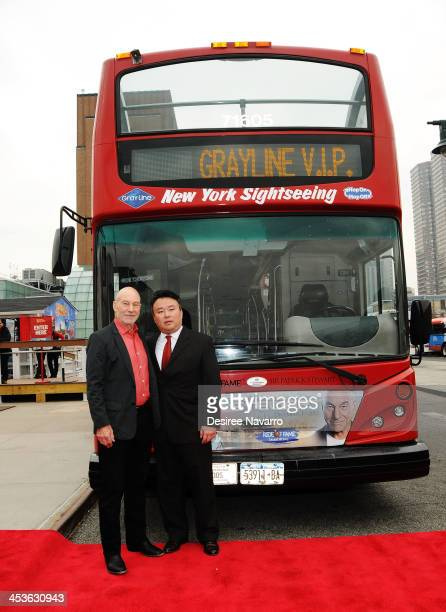"""Sir Patrick Stewart and Ride of Fame creator/producer David W. Chien attend the Gray Line NYC """"Ride Of Fame"""" induction ceremony for Patrick Stewart..."""