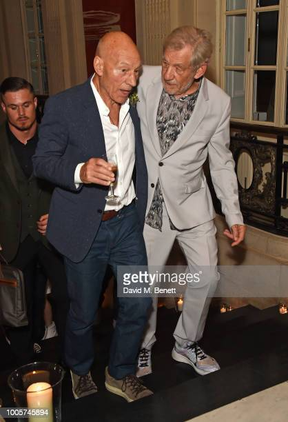 Sir Patrick Stewart and Sir Ian McKelle attend the press night after party for 'King Lear' at No11 Carlton House Terrace on July 26 2018 in London...
