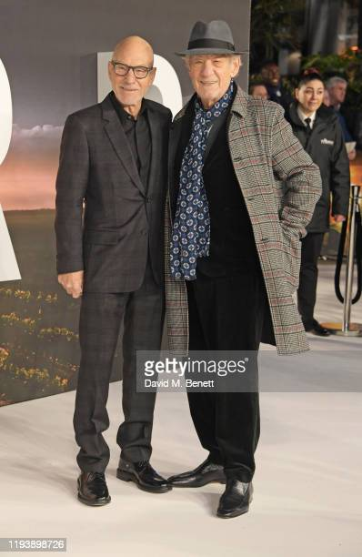 Sir Patrick Stewart and Sir Ian McKellen attend the European Premiere of Amazon Original Star Trek Picard at Odeon Luxe Leicester Square on January...
