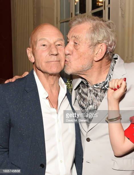 Sir Patrick Stewart and Sir Ian McKellen attend the press night after party for 'King Lear' at No11 Carlton House Terrace on July 26 2018 in London...