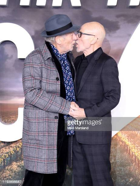 Sir Patrick Stewart and Sir Ian McKellen attend the Star Trek Picard UK Premiere at Odeon Luxe Leicester Square on January 15 2020 in London England