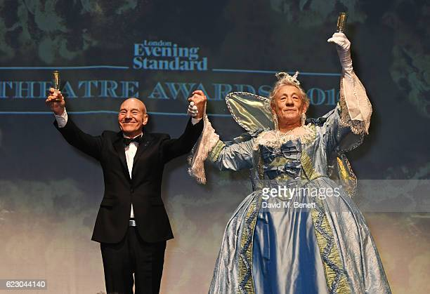 Sir Patrick Stewart and Sir Ian McKellen perform at the 62nd London Evening Standard Theatre Awards recognising excellence from across the world of...