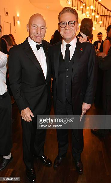 Sir Patrick Stewart and Sir Kenneth Branagh attend a cocktail reception at The 62nd London Evening Standard Theatre Awards recognising excellence...