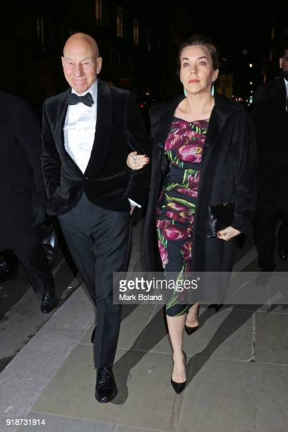 Sir Patrick Stewart and Sunny Ozell arrive at the Dunhill GQ preBAFTA Filmmakers Dinner and Party Cohosted by Andrew Maag Dylan Jones at Bourdon...