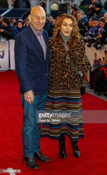 "Sir Patrick Stewart and Sunny Ozell attend a gala screening of ""The Kid Who Would Be King"" held at Odeon Leicester Square on February 3, 2019 in..."