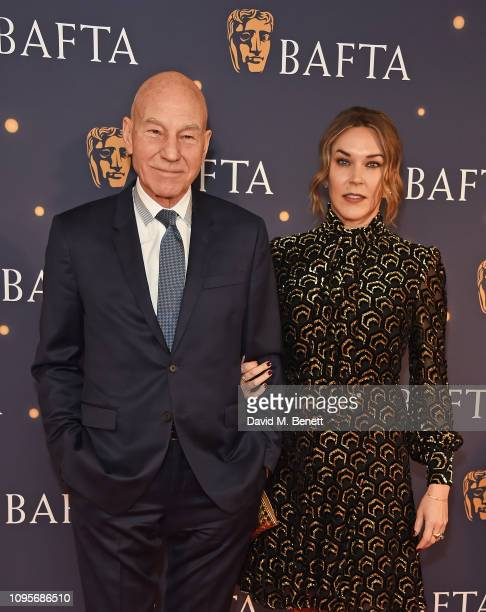 Sir Patrick Stewart and Sunny Ozell attend the BAFTA Film Gala at the The Savoy Hotel ahead of the EE British Academy Film Awards this Sunday on...