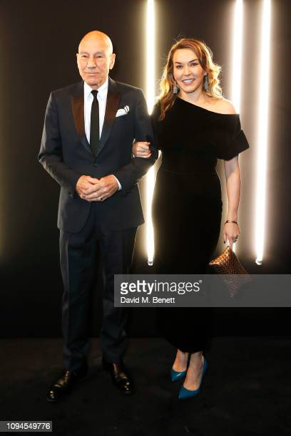Sir Patrick Stewart and Sunny Ozell attend the dunhill Pre-BAFTA dinner at dunhill Bourdon House on February 6, 2019 in London, England.