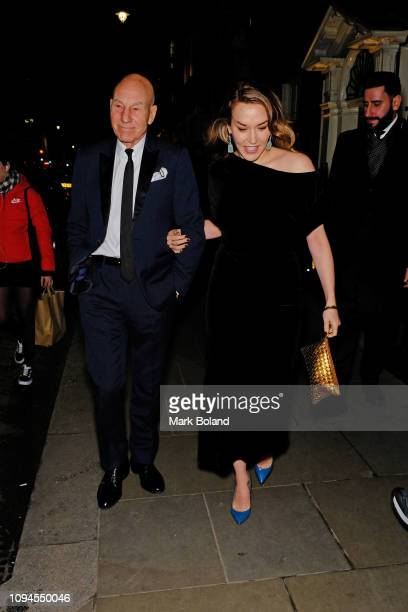Sir Patrick Stewart and Sunny Ozell attend the dunhill PreBAFTA dinner at dunhill Bourdon House on February 6 2019 in London England