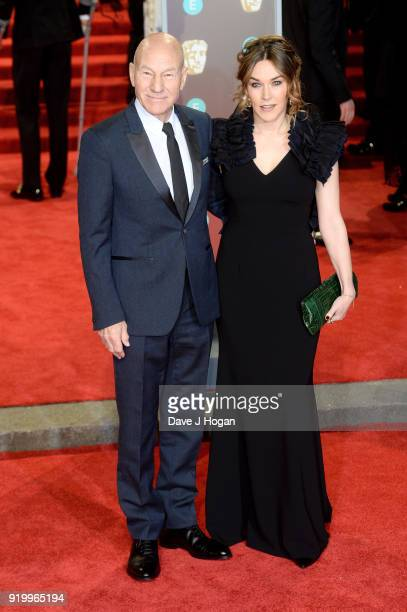 Sir Patrick Stewart and Sunny Ozell attend the EE British Academy Film Awards held at Royal Albert Hall on February 18, 2018 in London, England.
