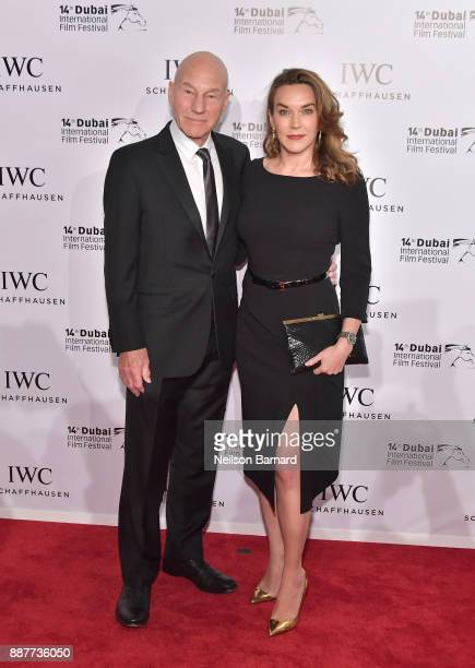 Sir Patrick Stewart and Sunny Ozell attend the IWC Filmmakers Award on day two of the 14th annual Dubai International Film Festival held at the One...