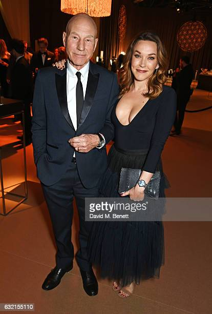 Sir Patrick Stewart and Sunny Ozell attend the IWC Schaffhausen Decoding the Beauty of Time Gala Dinner during the launch of the Da Vinci Novelties...