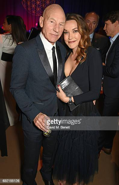 Sir Patrick Stewart and Sunny Ozell attend the IWC Schaffhausen 'Decoding the Beauty of Time' Gala Dinner during the launch of the Da Vinci Novelties...
