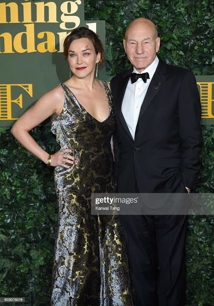 Sir Patrick Stewart and Sunny Ozell attend The London Evening Standard Theatre Awards at The Old Vic Theatre on November 13, 2016 in London, England.