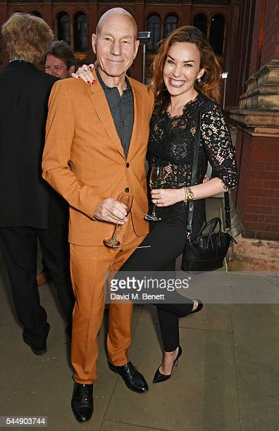 "Sir Patrick Stewart and Sunny Ozell attend the Olivier Awards Summer Party in celebration of the new exhibition ""Curtain Up"" at The V&A on July 4,..."