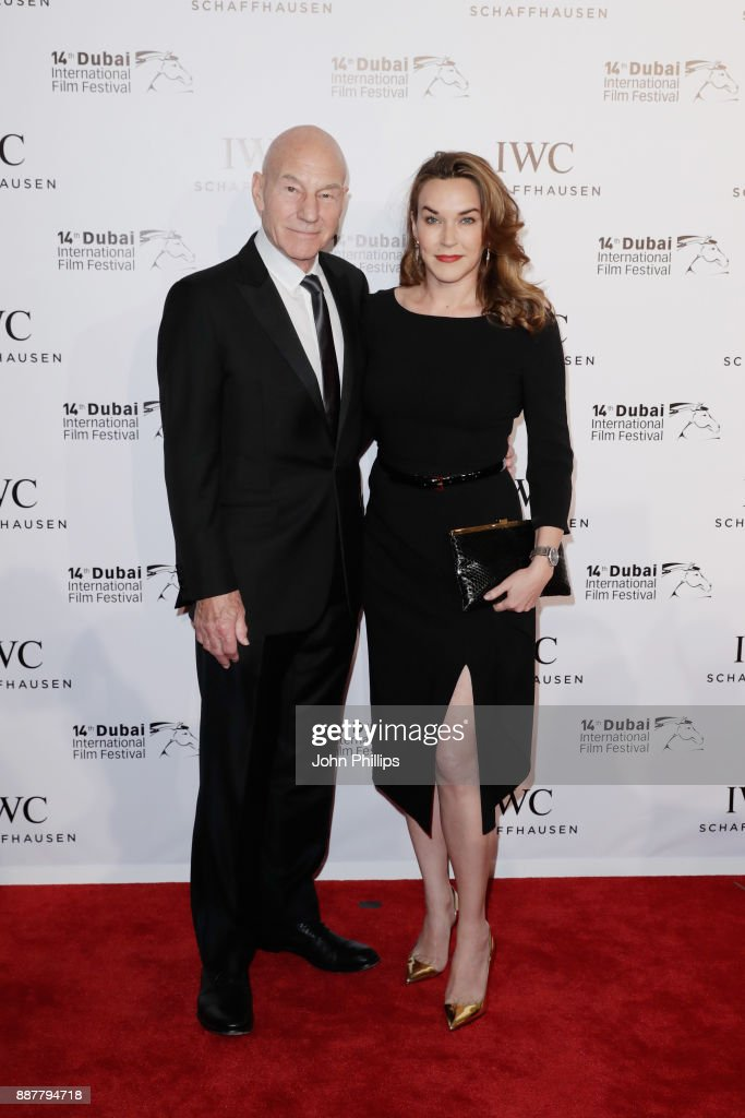 Sir Patrick Stewart and Sunny Ozell attend the sixth IWC Filmmaker Award gala dinner at the 14th Dubai International Film Festival (DIFF), during which Swiss luxury watch manufacturer IWC Schaffhausen celebrated its long-standing passion for filmmaking at One And Only Royal Mirage on December 7, 2017 in Dubai, United Arab Emirates.