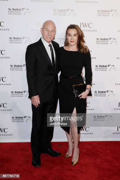 Sir Patrick Stewart and Sunny Ozell attend the sixth IWC Filmmaker Award gala dinner at the 14th Dubai International Film Festival during which Swiss...