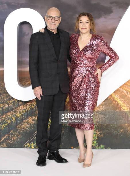 """Sir Patrick Stewart and Sunny Ozell attend the """"Star Trek Picard"""" UK Premiere at Odeon Luxe Leicester Square on January 15, 2020 in London, England."""