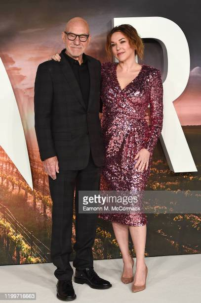 "Sir Patrick Stewart and Sunny Ozell attend the ""Star Trek Picard"" UK Premiere at Odeon Luxe Leicester Square on January 15, 2020 in London, England."