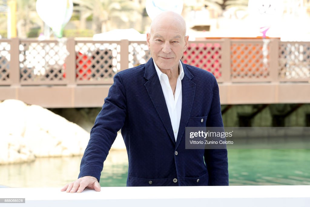 Sir Patrick Stewart attends a photocall on day three of the 14th annual Dubai International Film Festival held at the Madinat Jumeriah Complex on December 8, 2017 in Dubai, United Arab Emirates.