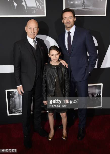 Sir Patrick Stewart Dafne Keen and Hugh Jackman attend the 'Logan' New York special screening at Rose Theater Jazz at Lincoln Center on February 24...
